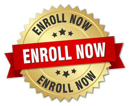 enroll: enroll now 3d gold badge with red ribbon Illustration