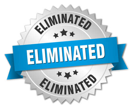 eliminated: eliminated 3d silver badge with blue ribbon