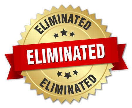 eliminated: eliminated 3d gold badge with red ribbon