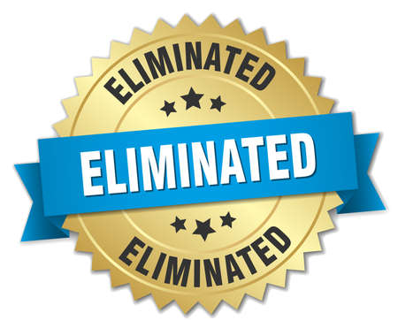 eliminated: eliminated 3d gold badge with blue ribbon