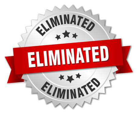eliminated: eliminated 3d silver badge with red ribbon