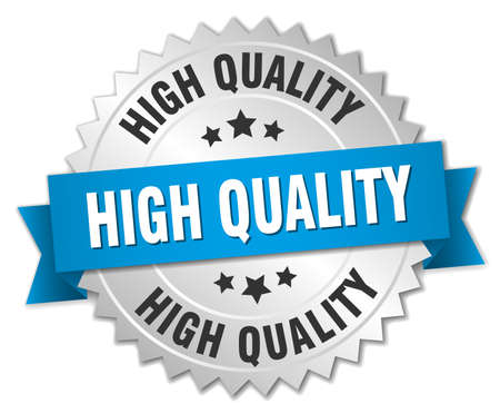 high quality: high quality 3d silver badge with blue ribbon