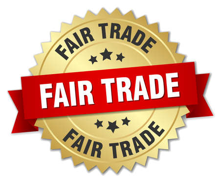 fair trade: fair trade 3d gold badge with red ribbon