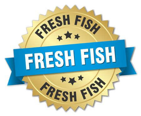 fresh fish: fresh fish 3d gold badge with blue ribbon