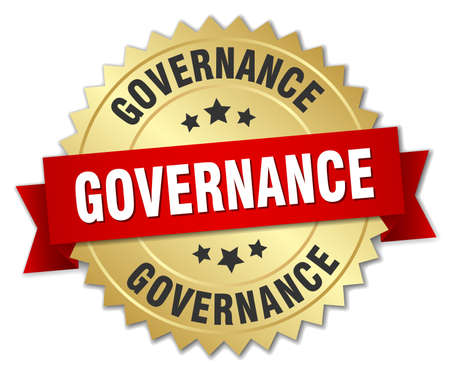 governance: governance 3d gold badge with red ribbon