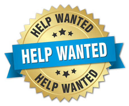 help wanted sign: help wanted 3d gold badge with blue ribbon