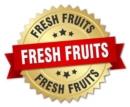 fresh fruits: fresh fruits 3d gold badge with red ribbon