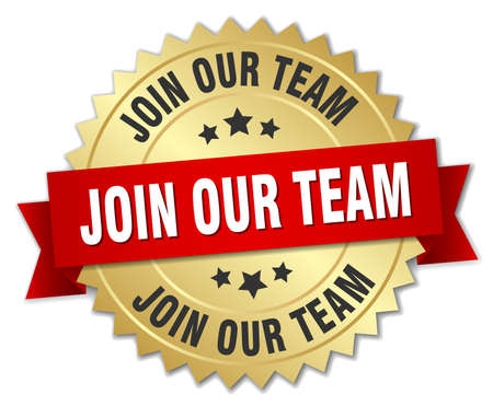 join our team: join our team 3d gold badge with red ribbon Illustration