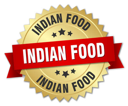 indian food: indian food 3d gold badge with red ribbon