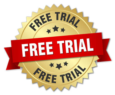 free trial: free trial 3d gold badge with red ribbon Illustration
