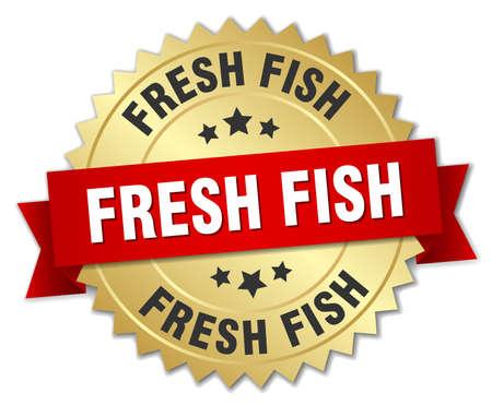 fresh fish: fresh fish 3d gold badge with red ribbon