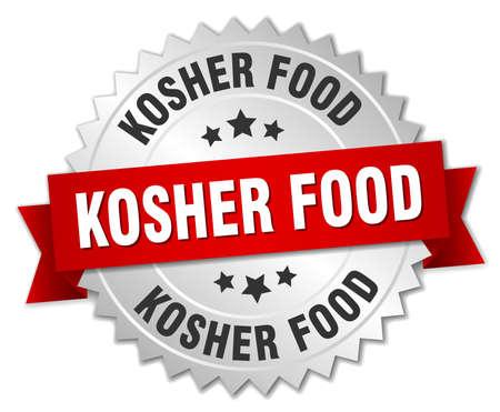 kosher: kosher food 3d silver badge with red ribbon Illustration