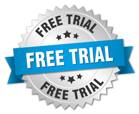 free trial: free trial 3d silver badge with blue ribbon