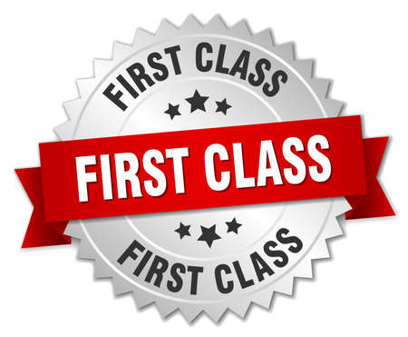first class: first class 3d silver badge with red ribbon Illustration