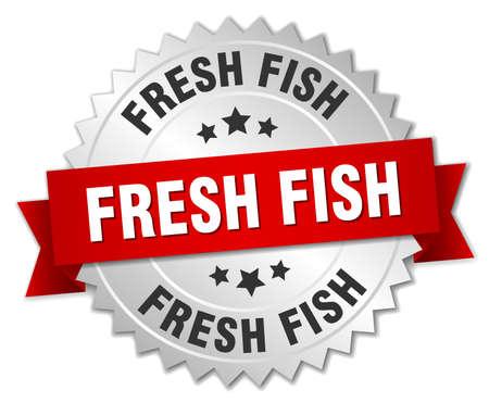 fresh fish: fresh fish 3d silver badge with red ribbon