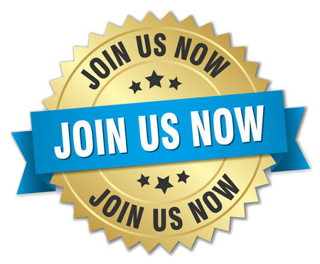join us: join us now 3d gold badge with blue ribbon