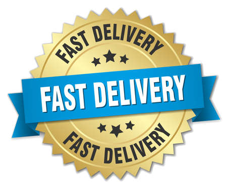 fast delivery: fast delivery 3d gold badge with blue ribbon Illustration