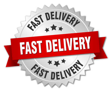 fast delivery: fast delivery 3d silver badge with red ribbon