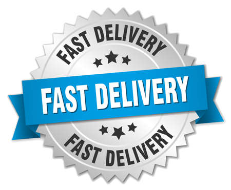 fast delivery: fast delivery 3d silver badge with blue ribbon Illustration