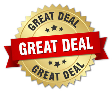 great deal: great deal 3d gold badge with red ribbon Illustration