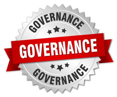 governance: governance 3d silver badge with red ribbon Illustration