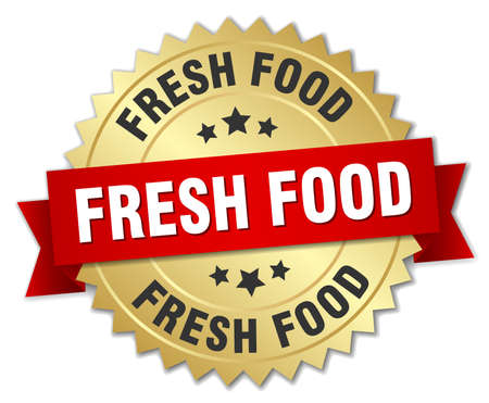 fresh food: fresh food 3d gold badge with red ribbon Illustration