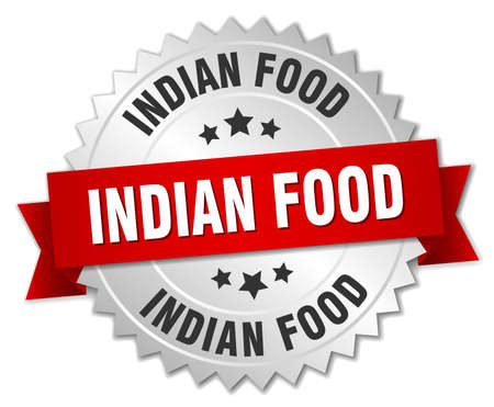 indian food: indian food 3d silver badge with red ribbon