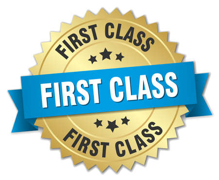 first class: first class 3d gold badge with blue ribbon