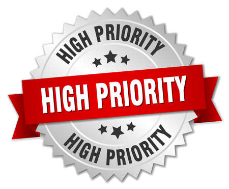 priority: high priority 3d silver badge with red ribbon