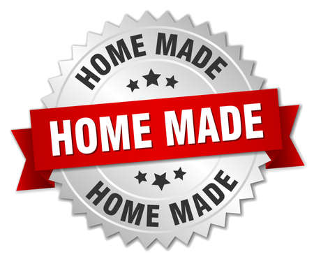 home made: home made 3d silver badge with red ribbon Illustration