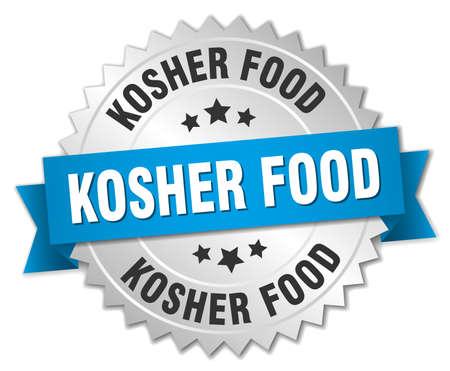 kosher: kosher food 3d silver badge with blue ribbon
