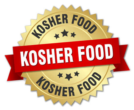kosher: kosher food 3d gold badge with red ribbon