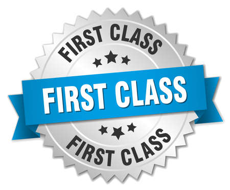 first class: first class 3d silver badge with blue ribbon Illustration