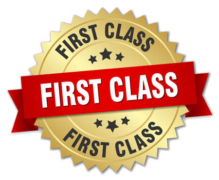 first class: first class 3d gold badge with red ribbon