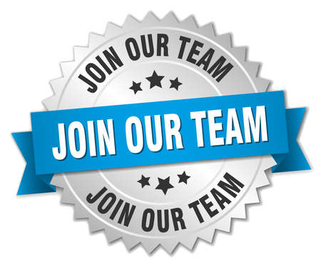 join our team: join our team 3d silver badge with blue ribbon