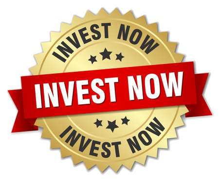 invest now 3d gold badge with red ribbon