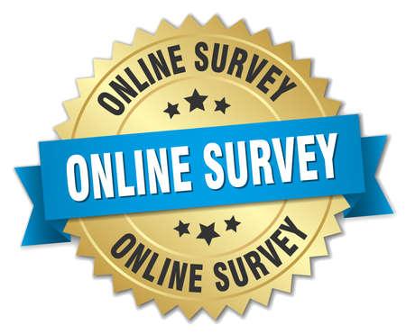 online survey: online survey 3d gold badge with blue ribbon
