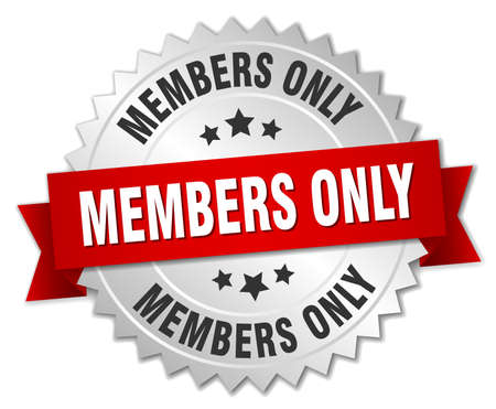 members only 3d silver badge with red ribbon Vectores