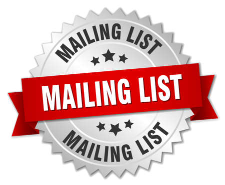 mailing: mailing list 3d silver badge with red ribbon
