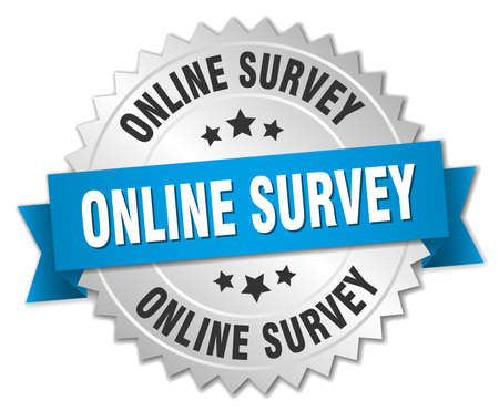 online survey: online survey 3d silver badge with blue ribbon