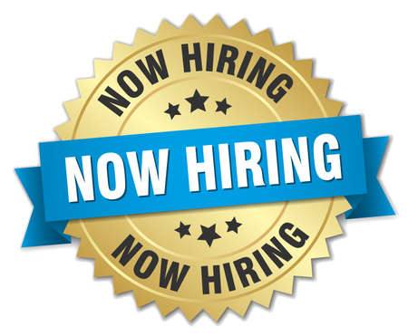now hiring: now hiring 3d gold badge with blue ribbon