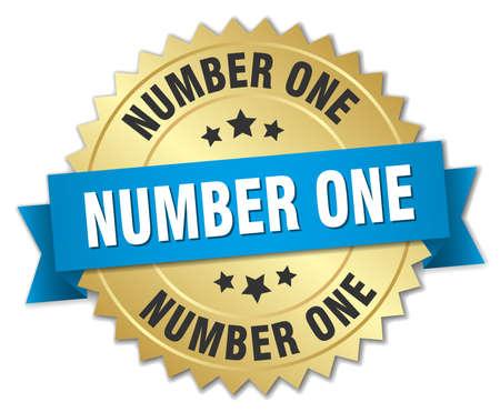 jeden: číslo jedna 3d zlatý odznak s modrou stuhou Ilustrace