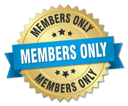 only members: members only 3d gold badge with blue ribbon