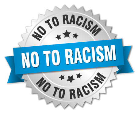 racism: no to racism 3d silver badge with blue ribbon Illustration