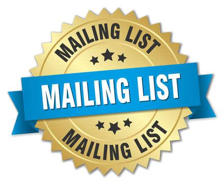 mailing: mailing list 3d gold badge with blue ribbon Illustration