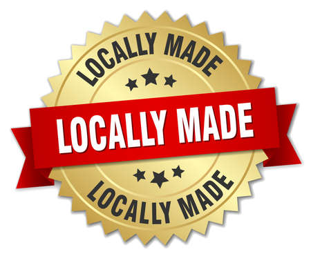 locally: locally made 3d gold badge with red ribbon
