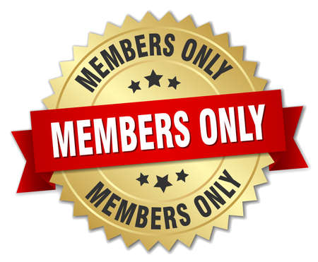 only: members only 3d gold badge with red ribbon