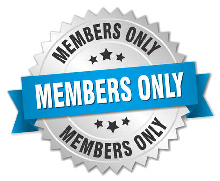 only members: members only 3d silver badge with blue ribbon
