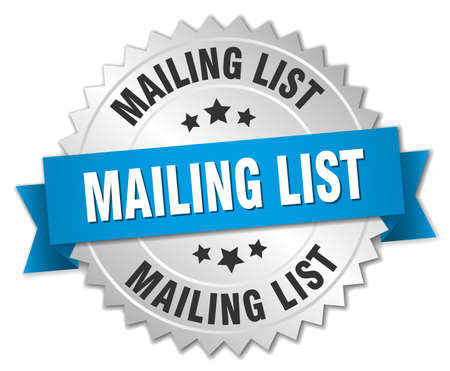 mailing: mailing list 3d silver badge with blue ribbon