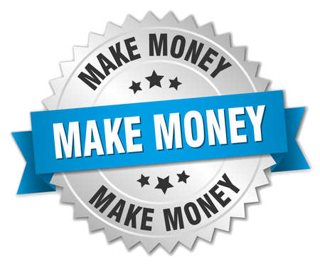 make money 3d silver badge with blue ribbon 向量圖像